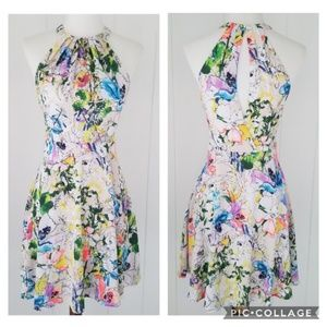 Express Watercolor Floral Fit and Flare Dress